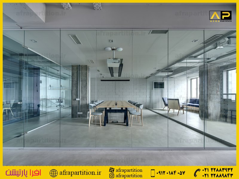 پارتیشن شیشه ای تک جداره فرم لس (38)